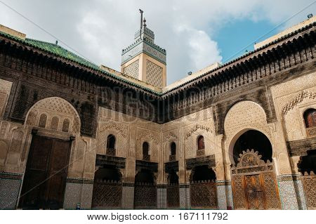 Bou Inania Madrasa in Fes Morocco during sunny day