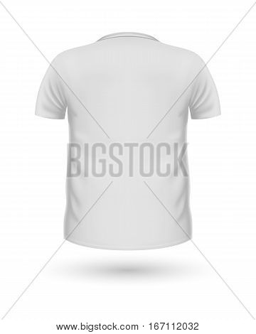 T-shirt template, back view. White colors. Realistic vector illustration in flat style. Sport clothing. Casual men wear. Cotton unisex polo outfit. Fashionable apparel.