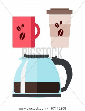 Blue coffee maker with cups of coffee in flat design isolated on white background. Paper cup of coffee. Coffee hot drinking cup. Coffee time, break time concept. Vector illustration.