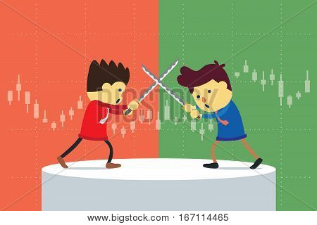 Businessman fighting on stage with blade which have a stock chart background. Competition of stock in uptrend and downtrend.