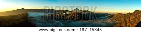 Sunrise panorama at volcano Mount Bromo, now its bright