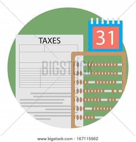 Day of counting taxes icon. Financial tax day counting money illustration