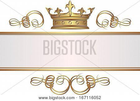 vintage banner with crown - clip art illustration