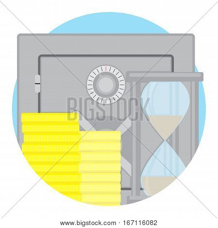 Capitalization of deposit icon flat vector. Protection money in safe steel time and clock hourglass illustration