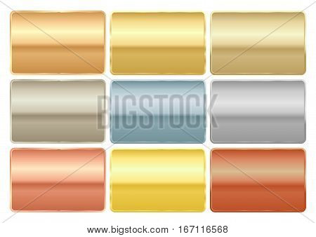 Vector set of rectangular chips of different metals gold platinum red gold silver copper bronze brass aluminum