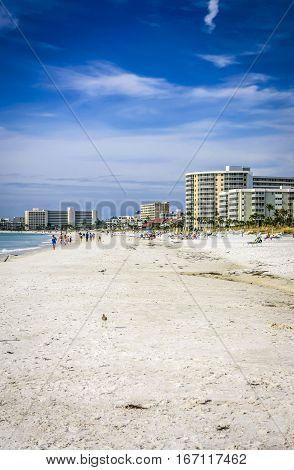Siesta Key FL USA - November 16: People on Crescent beach at Siesta Key Island in Sarasota FL