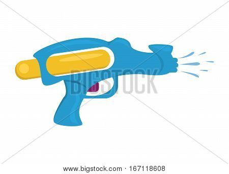 Water gun isolated. Plastic water gun songkran festival squirt gun. Water gun pistol on white.