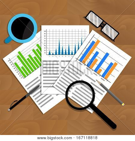 Analytics and analysis. Vector trend stock financial graphic and diagram illustration