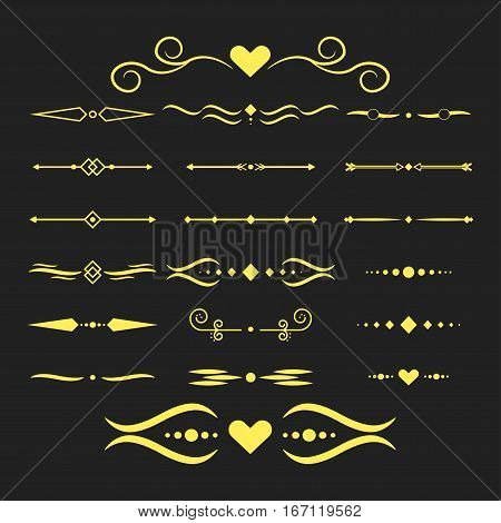 Collection of vector dividers calligraphic style. Vector dividers border frame design decorative illustration element
