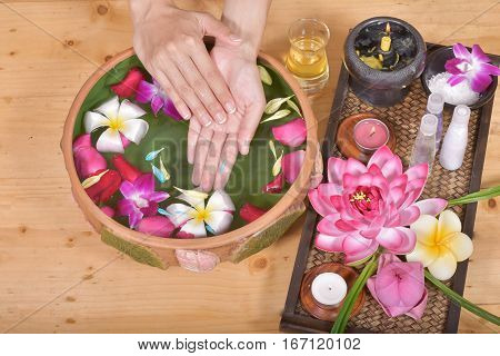 woman hands spa, connect of spa massage