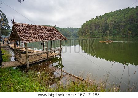 Bamboo cottage floating at Pang Oung, Thailand