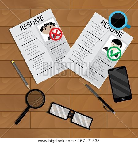 Selection and analysis on work of candidate. Search and choice resume business recruitment on table. Vector illustration