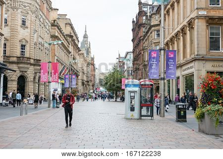Glasgow, Scotland - 17 September 2016 : People Walking On Buchanan Shopping Street On 17 September 2