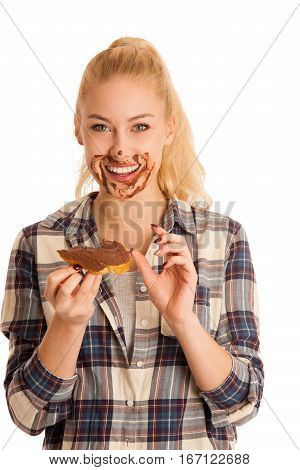 Young Blond Woman Eating Breakfast Bread And Nougat Spread Isolated Over White Background