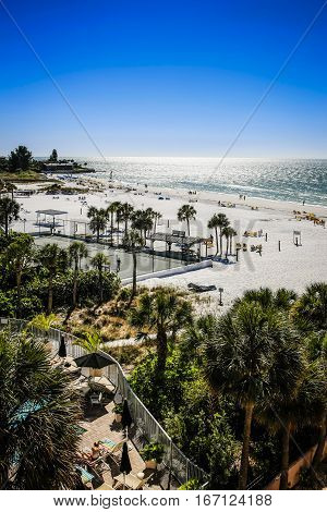 Siesta Key FL USA - November 19: Aerial view of Crescent beach on Siesta Key Island, Sarasota Florida