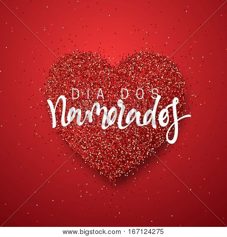 Happy Valentines Day. lettering French Inscription handmade. Dia dos Namorados. Holiday greeting card on red bright heart background. Design of brochures, posters, banners, web. World festival of love