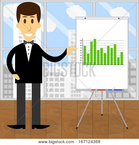 Consultant economist presentation business start up graphic vector illustration
