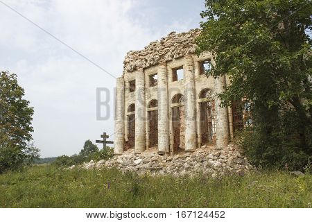 A ruined old church of red brick