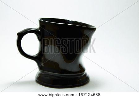 Glass ceramic black shape design wrinkly on white background