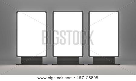 Vertical blank outdoor Lightboxes. Gray studio gradient background. 3D illustration