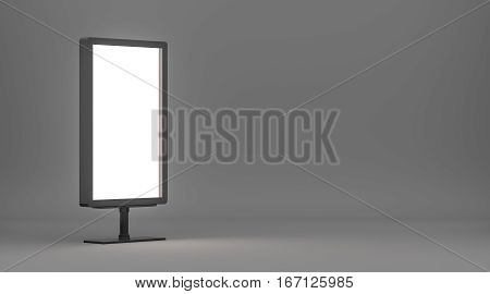 Blank billboard with copy space for your content. Empty Lightboxe on gray studio gradient background. 3D Rendering