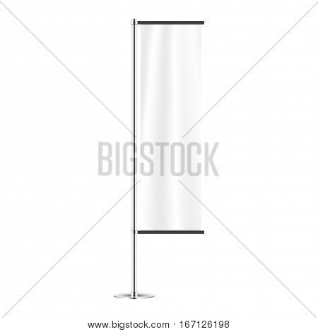 White flag mockup isolated in white background