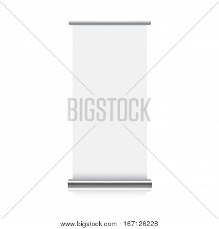 mock up of realistic roll up stand on white background. 3d vector illustration