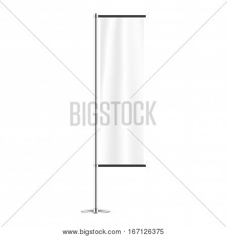 realistic advertising flag. roll up banner mock-up with metal stand