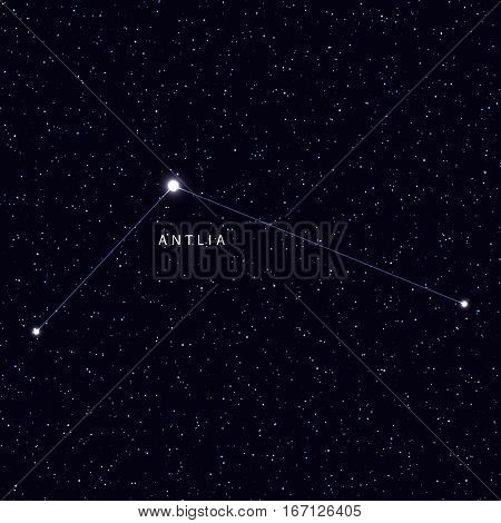 Sky Map with the name of the stars and constellations. Astronomical symbol constellation antlia