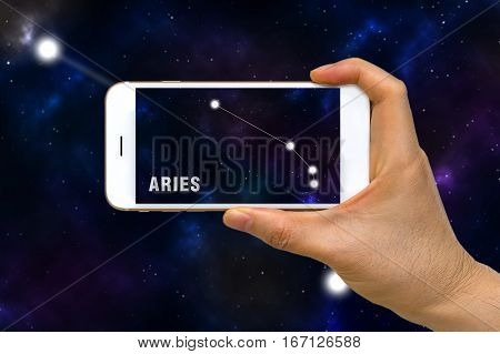 Augmented Reality, Ar, Of Aries Zodiac Constellation App On Smartphone Screen Concept