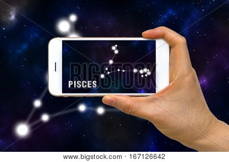 Augmented Reality, Ar, Of Pisces Zodiac Constellation App On Smartphone Screen Concept