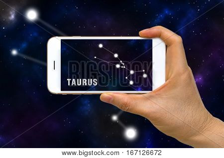 Augmented Reality, Ar, Of Taurus Zodiac Constellation App On Smartphone Screen Concept