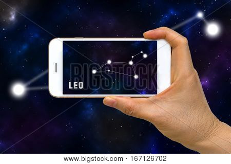 Augmented Reality, Ar, Of Leo Zodiac Constellation App On Smartphone Screen Concept
