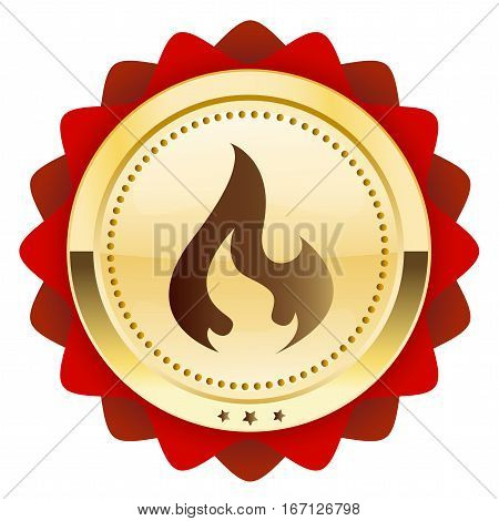 flammable seal or icon with flame symbol. Golden vector icon.
