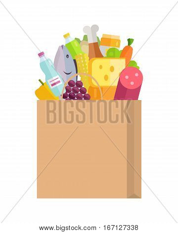 Grocery shopping vector concept. Purchases planning and buying fresh products for a week concept. Various foods sticking from  paper bag illustration for market, shop, food delivery ad, menu, prints.