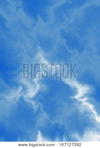 Abctract bluish background with white chaotic zigzag wawes and curves