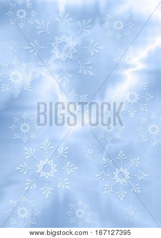 Abstract gentle bluish zig zag background with white snowflakes