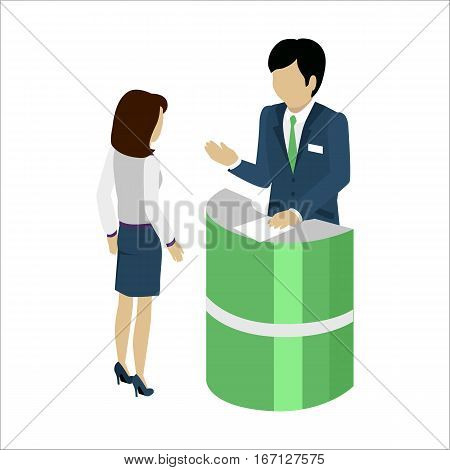Reception service concept vector in isometric projection. Woman customer communicate with employee under reception desk in bank or hotel or exhibition. Isolated on white background.