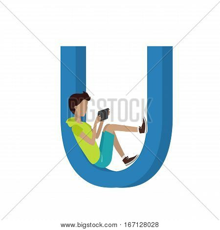 Gadget alphabet. Letter - U. Boy with tablet sitting in letter. Modern youth with electronic gadgets. Social media network connection. Simple colored letter and people with electronic devices