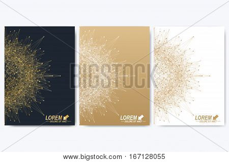 Modern vector template for brochure, leaflet, flyer, cover, catalog, magazine or annual report in A4 size. Business, science and technology design book layout. Presentation with golden mandala