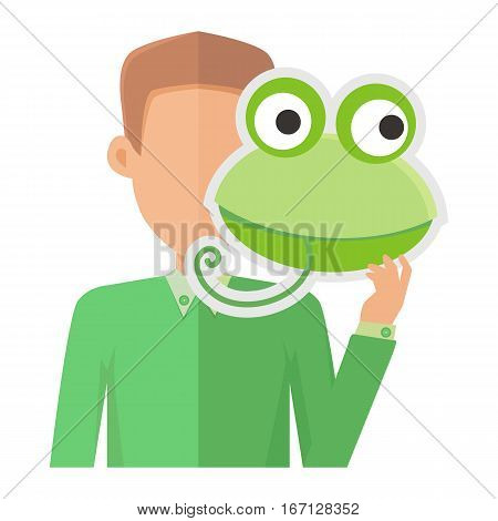 Man without face with frog mask isolated on white. Boy in green sweater with carnaval festival mask for children. Funny cartoon vizor. Masquerade masque. Animator userpic avatar. Vector in flat style