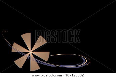 abstract image of a symbol of a circle with black and yellow sectors of six units with line wound around lilac and sand color on a black background.