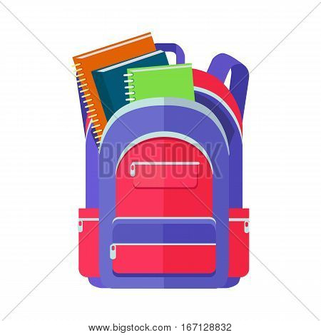 Backpack schoolbag icon in flat style. Hiking backpack. Kids backpack with notebook and ruler, education and study school, rucksack, urban backpack vector illustration on white background