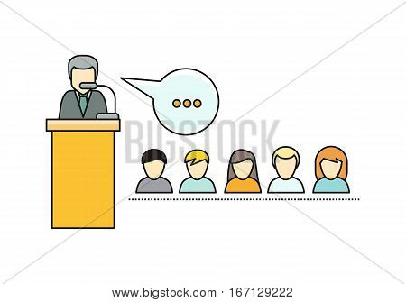 Lecture horizontal vector concept. Flat style. Lecturer character at tribune and and the audience men and women icons. Illustration for educational companies, career courses ad, web page design