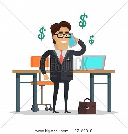Man speaking on telephone near the desk isolated on white. Office work interior design. Men in office room, business man discusses issues connected with money. Marketing concept. Vector illustration