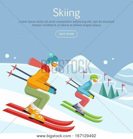Skiing banner. Skiers on snowy slope competition. Person skiing flat style. Winter season recreation winter sport activity. Slalom sport ski race. Athletes on downhill. Extreme speed skiing. Vector