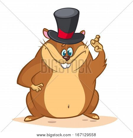 Happy cartoon groundhog on his day with mayor hat. Vector illustration with cute marmot mascot character waving. Happy Groundhog Day Theme