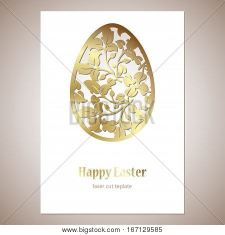 Card with golden openwork Easter egg with leaves and space for text. Laser cutting template for greeting cards envelopes invitations decorative elements.