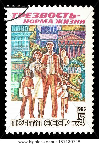 SOVIET UNION - CIRCA 1985 : Cancelled postage stamp printed by Soviet Union, that shows Family.