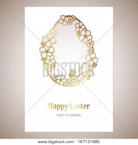 Card with golden openwork Easter egg with flowers and space for text. Laser cutting template for greeting cards envelopes invitations decorative elements.